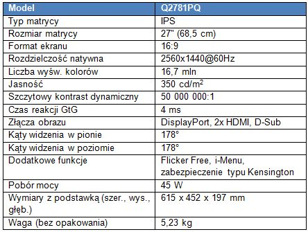 Monitor AOC Q2781PQ