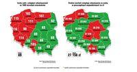 Liczba dłużników i średnia wartość zobowiązania - województwa
