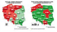 Ujęcie geograficzne średniego zadłużenia