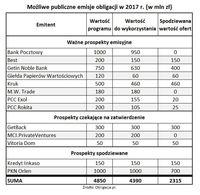 Możliwe publiczne emisje obligacji w 2017 roku.