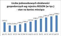 Liczba jednoosobowych działalności wg rejestru REGON