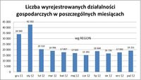 Liczba wyrejestrowanych działalności w poszczególnych miesiącach