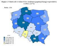 Udział osób w wieku 0-14 w strukturze populacji danego województwa w 2012 r.