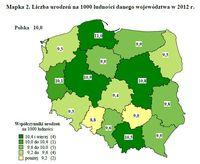 Liczba urodzeń na 1000 ludności danego województwa w 2012 r.