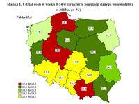 Udział osób w wieku 0-14 w strukturze populacji danego województwa w 2013 r. (w %)