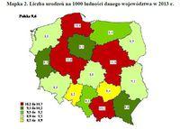 Liczba urodzeń na 1000 ludności danego województwa w 2013 r.