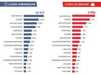 Liczba zobowiązań i dłużników w podziale na województwa
