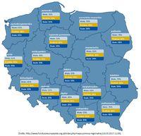 Mapa pomocy regionalnej dla poszczególnych województw