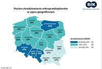 Poziom ukredytowienia mikroprzedsiębiorców w ujęciu geograficznym