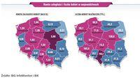 Kwota zaległości i liczba kobiet w województwach