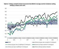 Bieżący wskaźnik ufności konsumenckiej (BWUK) oraz jego wartości składowe według miesięcy