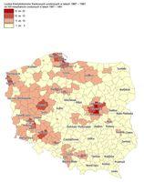 Liczba kredytobiorców frankowych urodzonych w latach 1967-1981 na 100 dorosłych mieszkańców