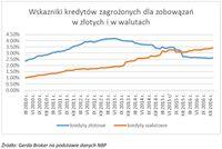 Wskaźniki kredytów zagrożonych dla zobowiązań w złotych i w walutach