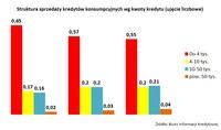 Wykres 3. Struktura sprzedaży kredytów konsumpcyjnych wg kwoty kredytu (ujęcie liczbowe)