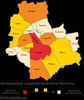 Mapa - zainteresowanie dzielnicami Warszawy
