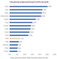 Luka płacowa w wybranych krajach w 2016 roku (w %)
