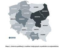 Dotarcie publikacji z mediów tradycyjnych w podziale na województwa