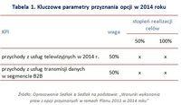 Tabela 1. Kluczowe parametry przyznania opcji w 2014 roku
