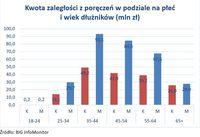 Kwota zaległości z poręczeń w podziale na płeć  i wiek dłużników (mln zł)
