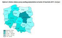 Wolne miejsca pracy według województw na koniec IV kwartału 2017 r.