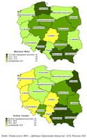 Przeciętne trwanie życia osób w wieku 0 lat w województwach w 2009 r.