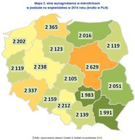 Mapa. Średnie wynagrodzenia w mikrofirmach w podziale na województwa w 2014 roku (brutto w PLN)
