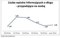 Liczba wpisów informujących o długu - przypadająca na osobę