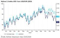 Wykres 1: Indeks USD i kurs USD/EUR (2019)