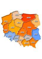 Średnie wartości rezerwacji świątecznych w regionach