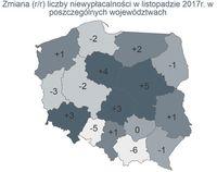 Zmiana liczby niewypłacalności r/r w poszczególnych województwach