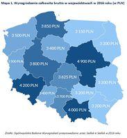 Mapa 1. Wynagrodzenia całkowite brutto w województwach w 2016 roku (w PLN)