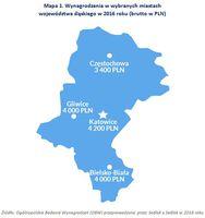 Mapa 1. Wynagrodzenia w wybranych miastach województwa śląskiego w 2016 roku