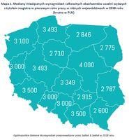 Mapa 1. Mediany miesięcznych wynagrodzeń absolwentów uczelni wyższych z tytułem magistra