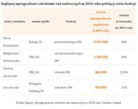 Najlepiej wynagradzani członkowie rad nadzorczych w 2016 roku pełniący różne funkcje