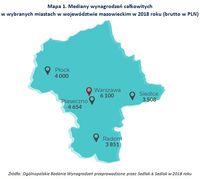 Mapa 1. Mediany wynagrodzeń całkowitych w wybranych miastach w województwie mazowieckim w 2018 roku