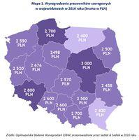 Mapa 1. Wynagrodzenia pracowników szeregowych w województwach w 2016 roku