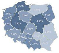 Mediana wynagrodzeń sprzedawców w poszczególnych województwach  (w PLN)