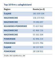 Top 10 firm z zaległościami