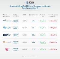 Koszty pożyczki ratalnej 3000 zł na 12 miesięcy