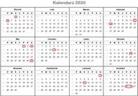 Kalendarz świąt 2020