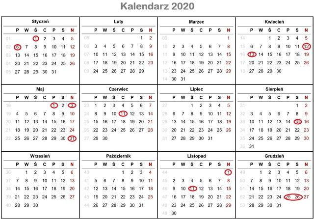 Dni wolne od pracy i kalendarz świąt 2020