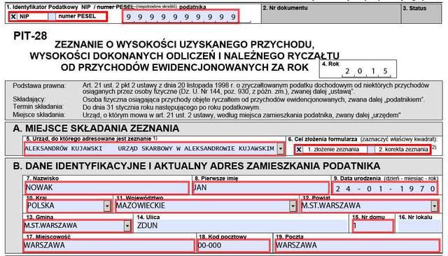 Poradnik PIT-28: jak wypełnić e-Deklaracje za 2015 r.