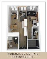 Podział 35 m2 na 2 przestrzenie