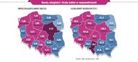 Kwoty zaległości i liczba kobiet w województwach