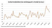 Liczba kredytobiorców wioskujących o kredyt (w tys.)