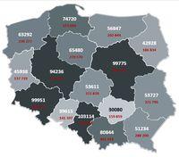 Mapa obrazująca liczbę publikacji (kolor biały) oraz liczbę zaszczepionych w województwach – stan na