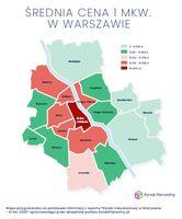 Średnia cena w dzielnicach w Warszawie w III kw. 2020