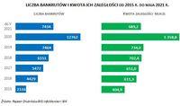 LICZBA BANKRUTÓW I KWOTA ICH ZALEGŁOŚCI OD 2015 R. DO MAJA 2021 R.