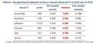 Tabela 1. Wynagrodzenia całkowite brutto w różnych obszarach IT w 2013 roku (w PLN)