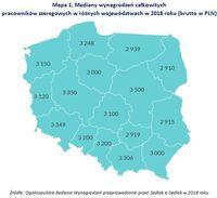 Mapa 1. Mediany wynagrodzeń całkowitych pracowników szeregowych w różnych województwach w 2018 roku